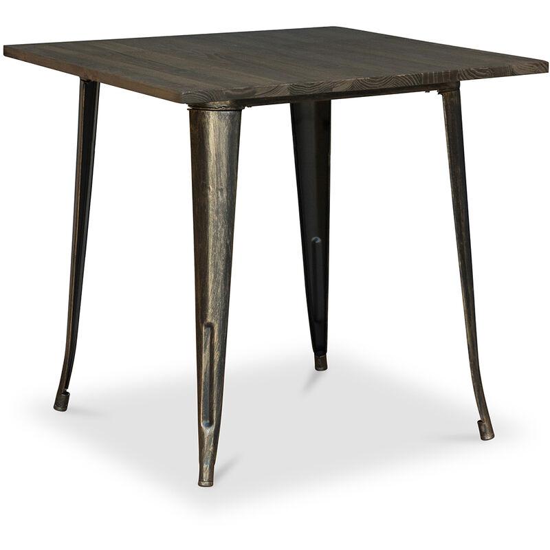 Style Tolix Esstisch - 80 cm - Dunkles Holz Metallic bronze