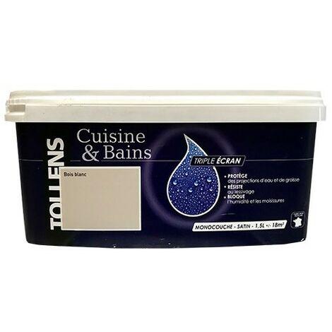 """TOLLENS Peinture acrylique """"Cuisine & Bains Triple Ecran"""" 1,5L Bois blanc - 1,5L"""