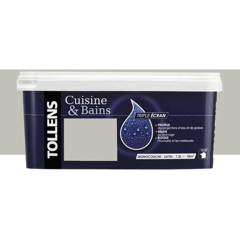 """TOLLENS Peinture acrylique """"Cuisine & Bains Triple Ecran"""" 1,5L Gris design - 1,5 L"""