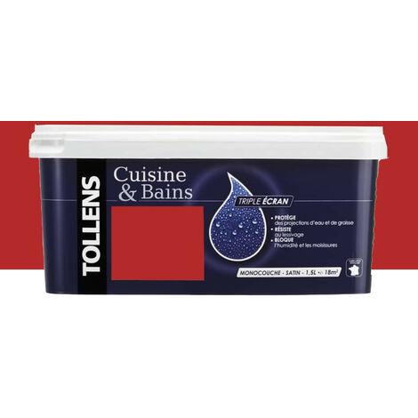 TOLLENS Peinture acrylique 'Cuisine & Bains Triple Ecran' 1,5L Rouge créateur 1,5 L - Rouge créateur