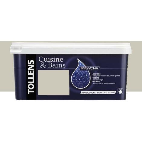 """TOLLENS Peinture acrylique """"Cuisine & Bains Triple Ecran"""" 1,5L Sel de Laeso - 1,5L"""