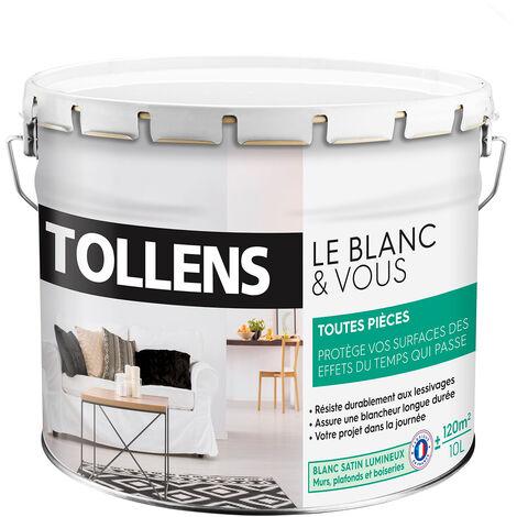 """main image of """"TOLLENS - Peinture Blanche Satin - Toutes Pièces - Murs, Plafonds, Boiseries - Resiste aux Chocs - Blanc 10L = 120m2 - - Blanc"""""""