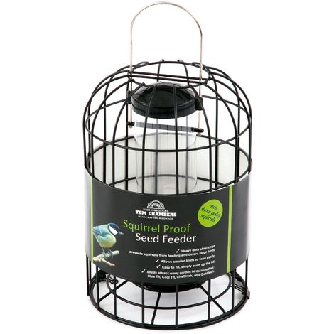 Tom Chambers Squirrel Proof Bird Seed Feeder (One Size) (Black)