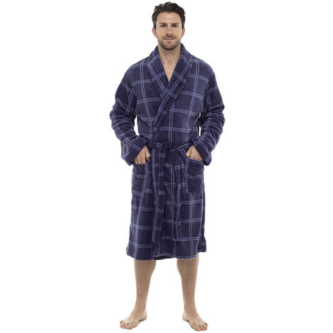 Tom Franks Mens Check Print Supersoft Fleece Dressing Gown