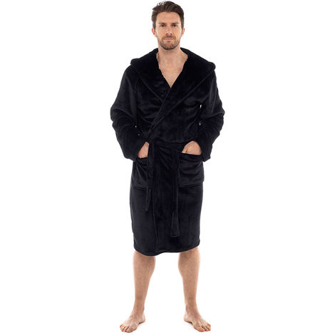 Tom Franks Mens Flannel Fleece Hooded Bathrobe Dressing Gown