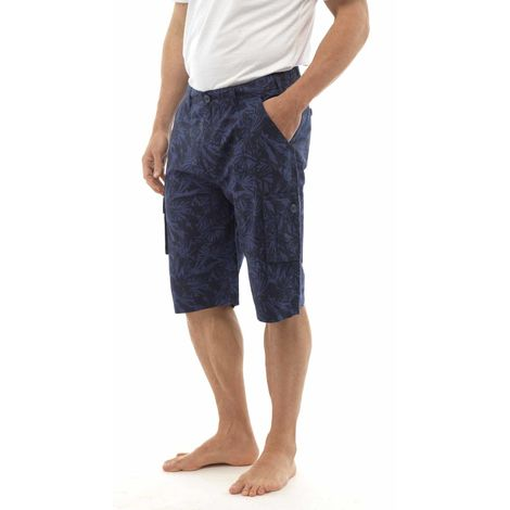 Tom Franks Palm Tree Print Beach Pool Swimming Cargo Knee Length Shorts, Navy, Medium,