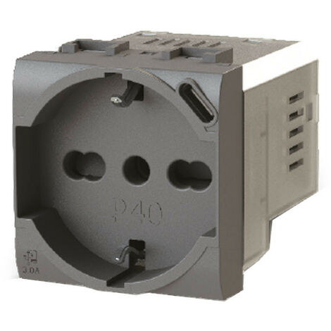Toma de corriente de Derivación y Schuko 4Box P40 con USB 3.0 Vimar Arke Gris 4B.V19.P40.USB