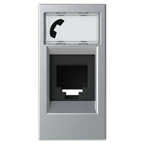 Toma de telefono estrecha 6 contactos Niessen N2117.6 PL serie Zenit color Plata
