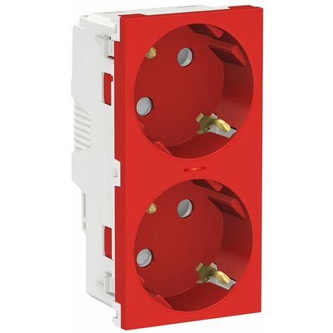 Toma schuko doble Rojo con Piloto Schneider New Unica System NU306718AS