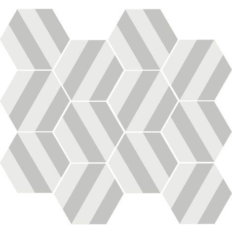 Tomette blanche à rayure MERAKI STRIPE GRIS 19.8x22.8 cm - 0.84m²