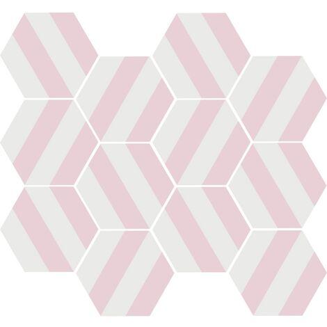 Tomette blanche à rayure MERAKI STRIPE ROSE 19.8x22.8 cm - 0.84m²