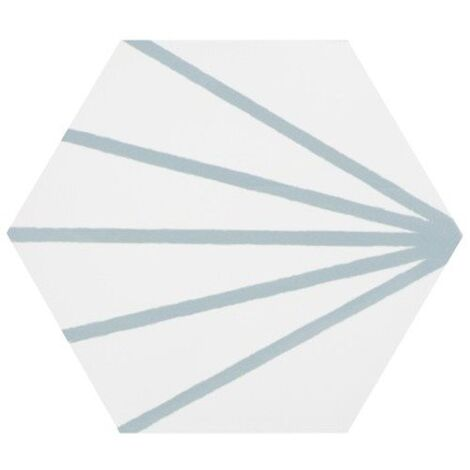 Tomette blanche à rayure turquoise motif dandelion MERAKI LINE AGUAMARINA 19.8x22.8 cm - 0.84m²