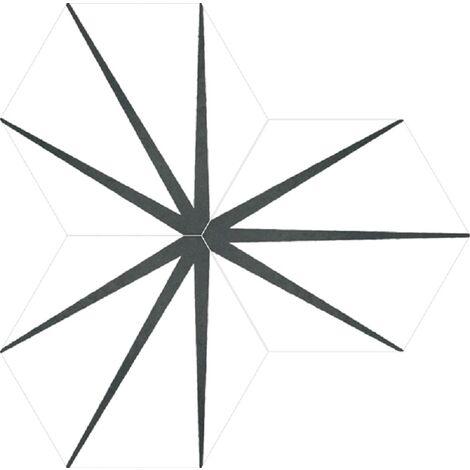 Tomette blanche décorée STARLINE WHITE NAT - Hexagone 25x30 cm - 0.935m²
