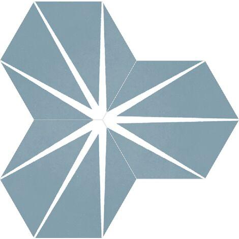Tomette bleue décorée STARLINE BLUE NAT - Hexagone 25x30 cm - 0.935m²