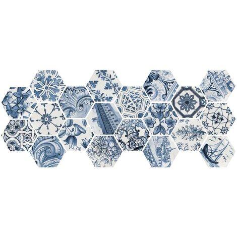 Tomette brillante patchwork bleu LISBOA 23216 sol ou mur 17x20 cm - 0.71m²