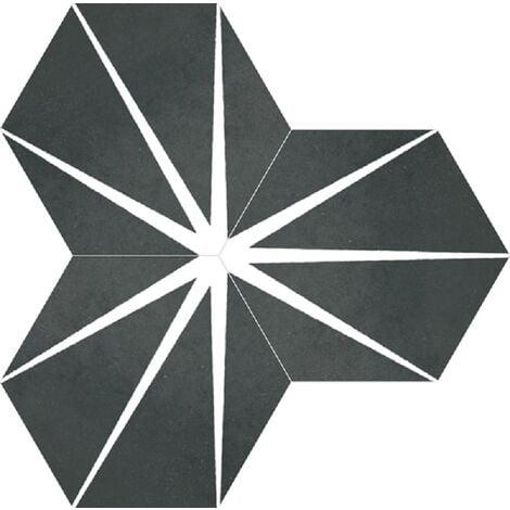 Tomette noire décorée STARLINE BLACK NAT - Hexagone 25x30 cm - R10 - 0.935m²