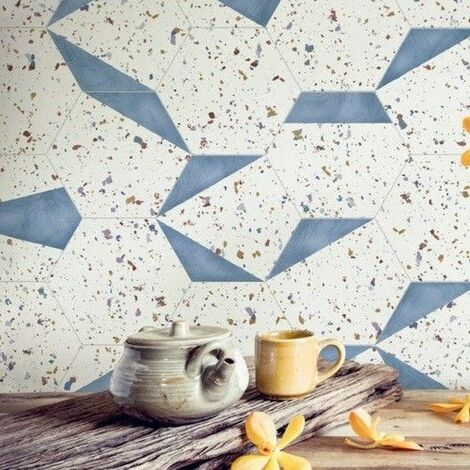 Tomettes terrazzo décorées 25x29 cm HEX-STRACCIATELLA BLUE NATURAL - 0.935m²