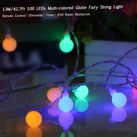 Tomshine 13M 100LED Globe String Light with Remote Control Multi-color 8 Different Lighting Modes Timer Timing Setting
