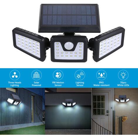 Tomshine 70 Light Controle de la lumiere pliante solaire a trois tetes + Induction du corps humain PIR Niveau de protection IP65
