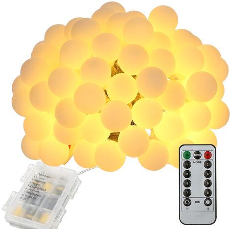 Tomshine, Luz de cuerda, 0.6W, 10M / 32.8Ft, 80LEDs, con control remoto