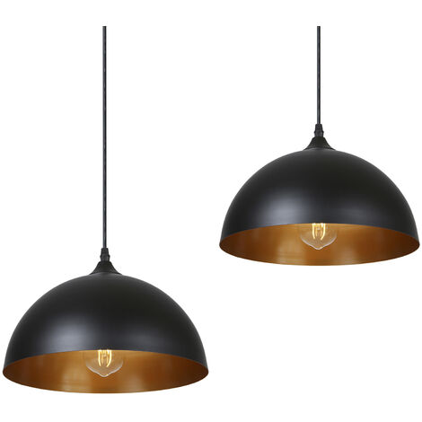 Tomshine, metal colgantes luz, 220V-230V, Negro, Paquete de 2, sin bulbo incluido