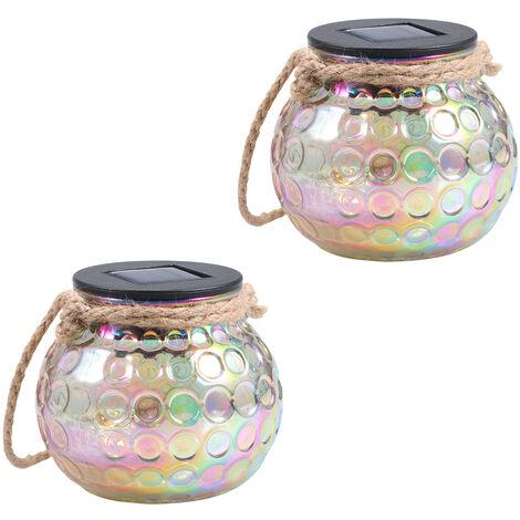 Tomshine Solar Lantern Jar Lights Hanging Garden Lamp Decorative Peacock Glass Ball Light IP65 Water-resistant