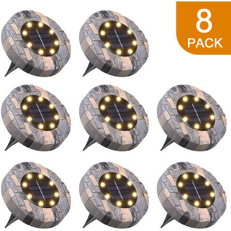 Tomshine Solar Powered Ground Lights 8 LEDs Garden Disk Deck Lamp Outdoor IP65 Water-resistant Landscape Lighting, Warm White