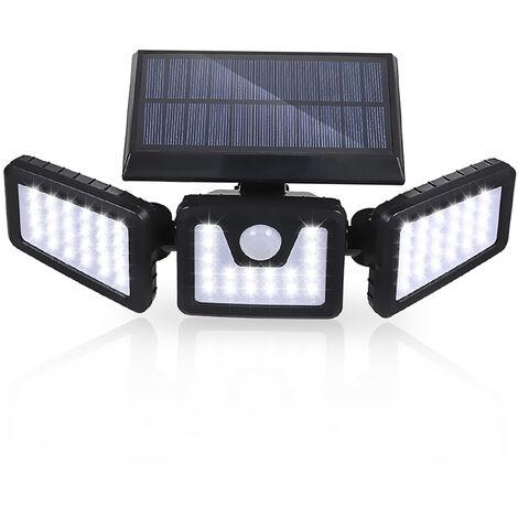 Tomshine Solar Powered PIR Motion Sensor Wall Street Light Wireless 3 Heads 70 LEDs Night Lamp IP65 Water-resistant