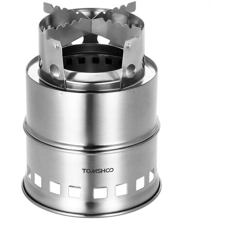 """main image of """"TOMSHOO Portable Folding Windproof Wood Burning Stove Compact Stainless Steel Alcohol Stove Outdoor Camping Hiking Backpacking Picnic BBQ,model: 1"""""""