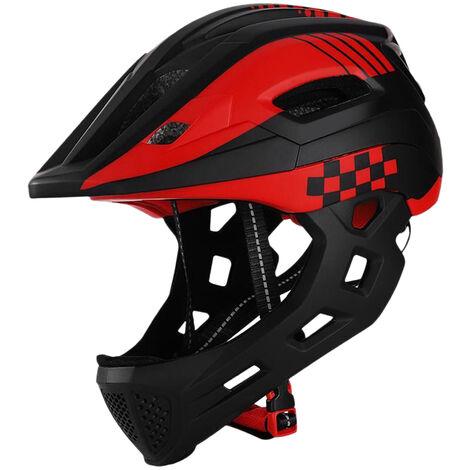 TOMSHOOH, Casco integral de bicicleta para ninos, con luz trasera,Negro rojo