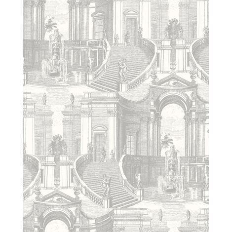 Ton-sur-ton wallpaper wall Profhome VD219152-DI hot embossed non-woven wallpaper embossed with architectural subjects subtly shimmering silver cream 5.33 m2 (57 ft2)