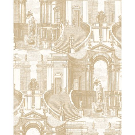Ton-sur-ton wallpaper wall Profhome VD219153-DI hot embossed non-woven wallpaper embossed with architectural subjects subtly shimmering gold cream 5.33 m2 (57 ft2)