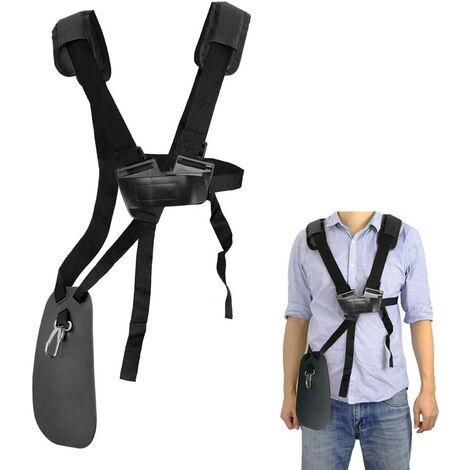 Tondeuse à bandoulière-tondeuse à harnais double épaule avec ceinture de nylon durable Adjuestable pour débroussailleuse ou Gardenning pour STIHL FS, taille-bordures série km (Noir)