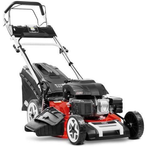 """Tondeuse à gazon GLM880XE essence 224cc 7.5cv démarrage électrique 4 temps automoteur double lame acier 530mm 21"""" hauteur de coupe réglable et panier d'une capacité de 65L - Greencut"""