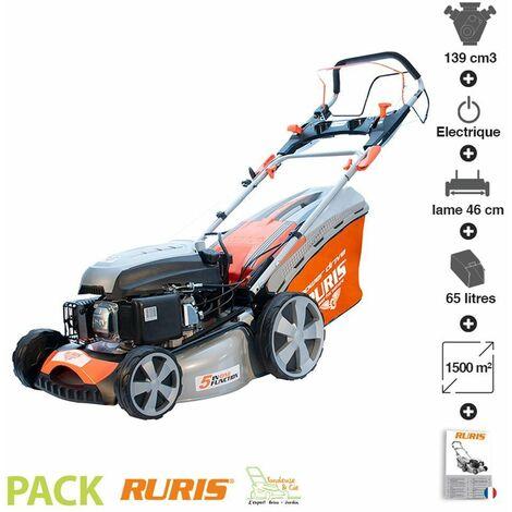 Tondeuse à gazon démarrage électrique 139cc coupe 46 cm Ruris RX331S - Orange