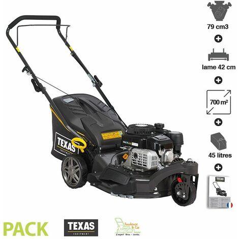 Tondeuse à gazon essence mulching 4-en-1 79 cc 3 roues coupe 42cm TEXAS Premium 4275 - Gris