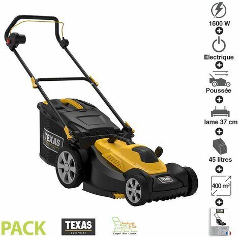 Tondeuse à gazon moteur électrique 1600W lame mulching 37cm Texas Smart 3700 - Noir