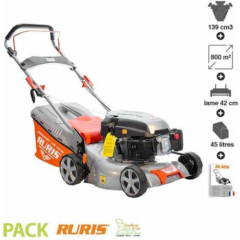 Tondeuse à gazon mulching 3,5 cv 139 cc coupe 42 cm Ruris RX221S - Orange