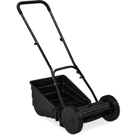 Tondeuse manuelle gazon, bac de ramassage, réglage hauteur de coupe, tondeuse jardin, manuelle, noir