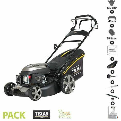 Tondeuse thermique autopropulsée 139cc 2,3cv coupe 46cm coupe mulching pack accessoires TEXAS RL460TR/W