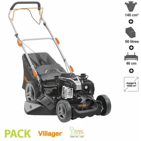 Tondeuse thermique moteur Briggs Stratton coupe 46cm mulching stockage vertical VILLAGER Falcon 4111B