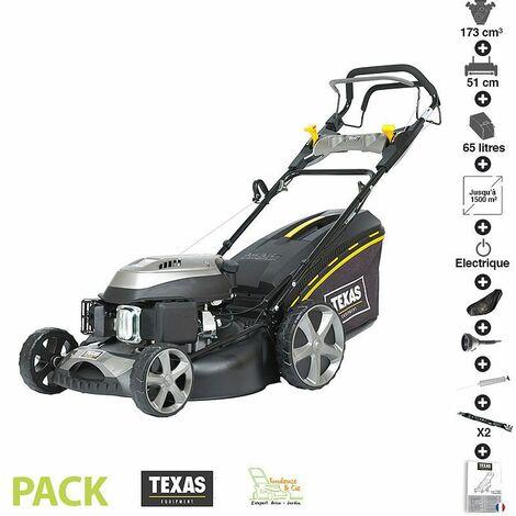 Tondeuse thermique tractée 173 cc 4,3cv démarrage électrique 51cm coupe mulching pack accessoires TEXAS RL515TR/WE