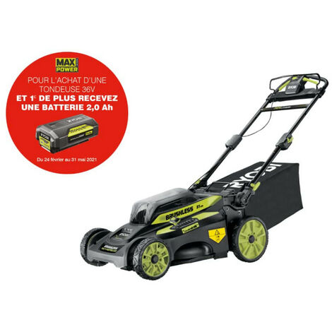 Tondeuse tractée RYOBI 36V LithiumPlus Brushless - coupe 51 cm - 1 batterie 6.0Ah - 1 chargeur rapide RY36LMX51A-160