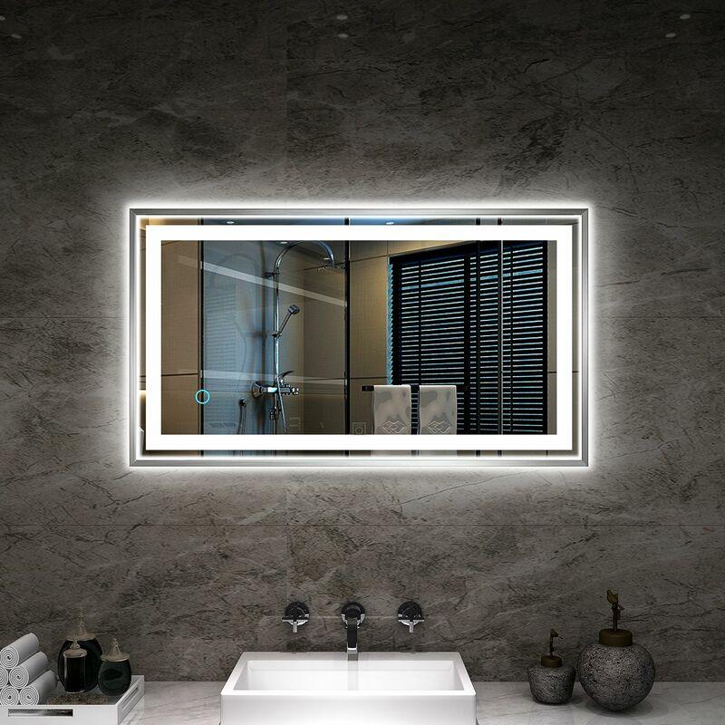 Tonffi miroir led 20w lampe de miroir blanc neutre 4000k - Miroirs salle de bain avec eclairage ...