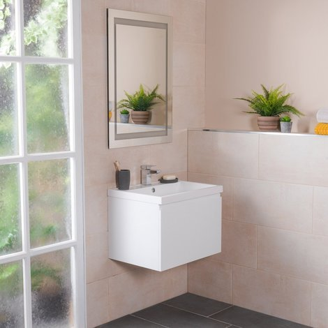 Tonic White 600mm Wall Hung Vanity Unit & Basin with FREE Mirror