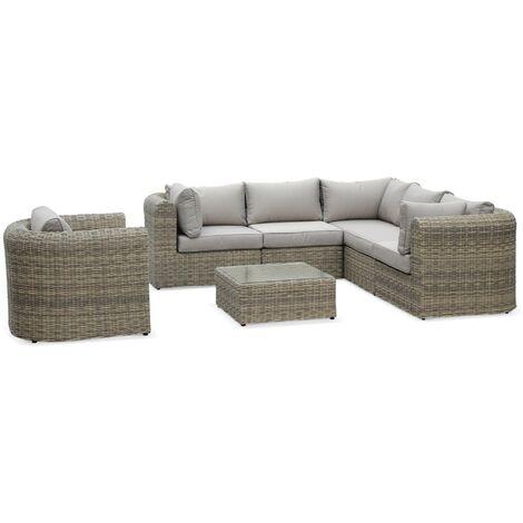 Tonico: 6-seater round rattan garden sofa set, beige