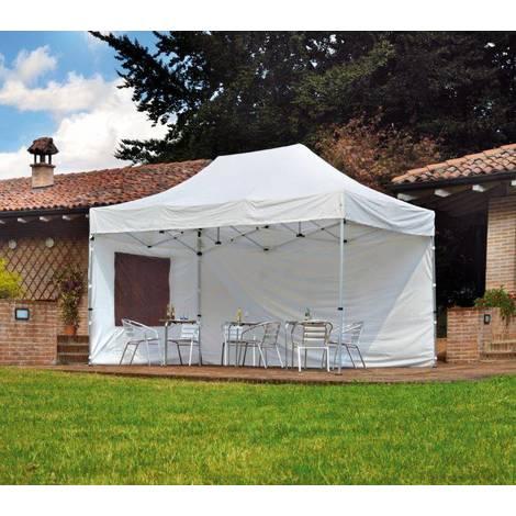 Tonnelle 3x4,5 m avec structure en aluminium et tissu Blanc | Blanc