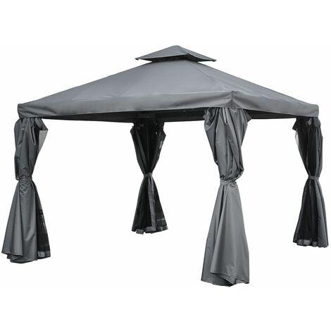 Tonnelle autoportante 3 × 3m ANTIBES grise - structure aluminium