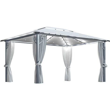 Tonnelle avec rideau et lumières 400x300 cm Crème Aluminium
