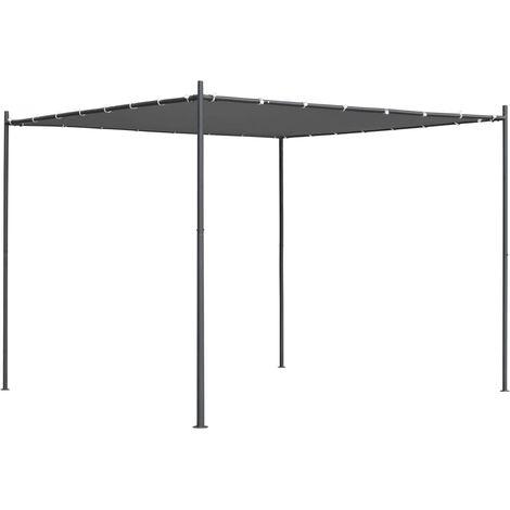 Tonnelle avec toit plat 3x3x2,4 m Anthracite